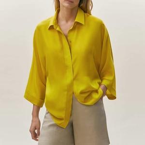 Shirt Za Women Shirt Tops 2021 New Fashion Simple Loose Single-breasted Office Women Shirts Casual Chic Street Youth Shirt Women