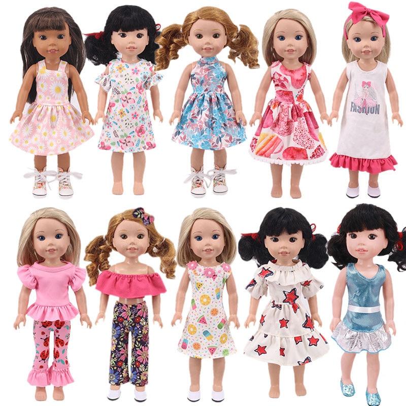 1 шт., платье с цветочным рисунком для кукол 14,5 Дюймов, аксессуары для кукол, Одежда для кукол, подарки для девочек