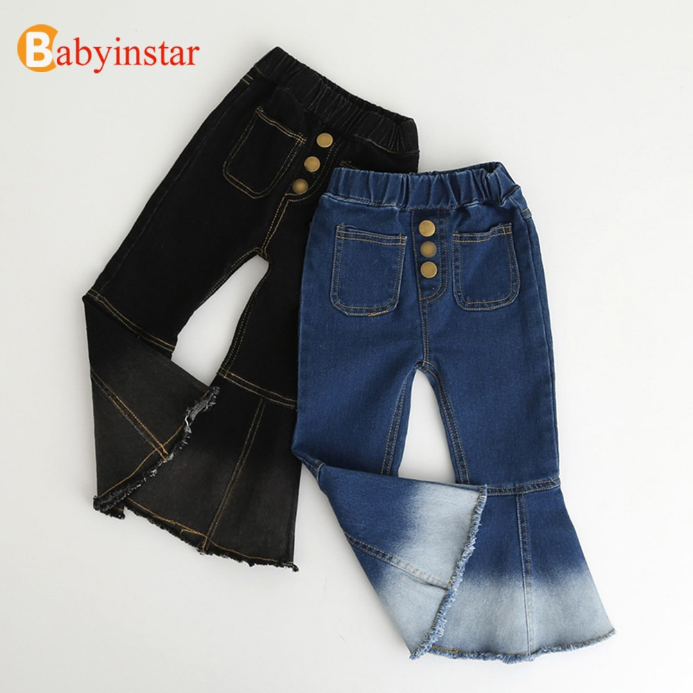 Babyinstar pantalones de mezclilla para niñas pantalones casuales de otoño para niñas pantalones de niños con fondo de campana para niñas 2020