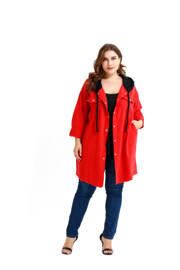 Sale Plus Size Women Long Jackets Spring Autumn Red Wide-waisted Coat Ladies Solid Color Outwear Loose Pockets Long Clothes D30