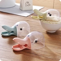 pink creative duck head shape plastic transparent rice scoop sealed clip household water dipper water ladle cute duckbill spoon