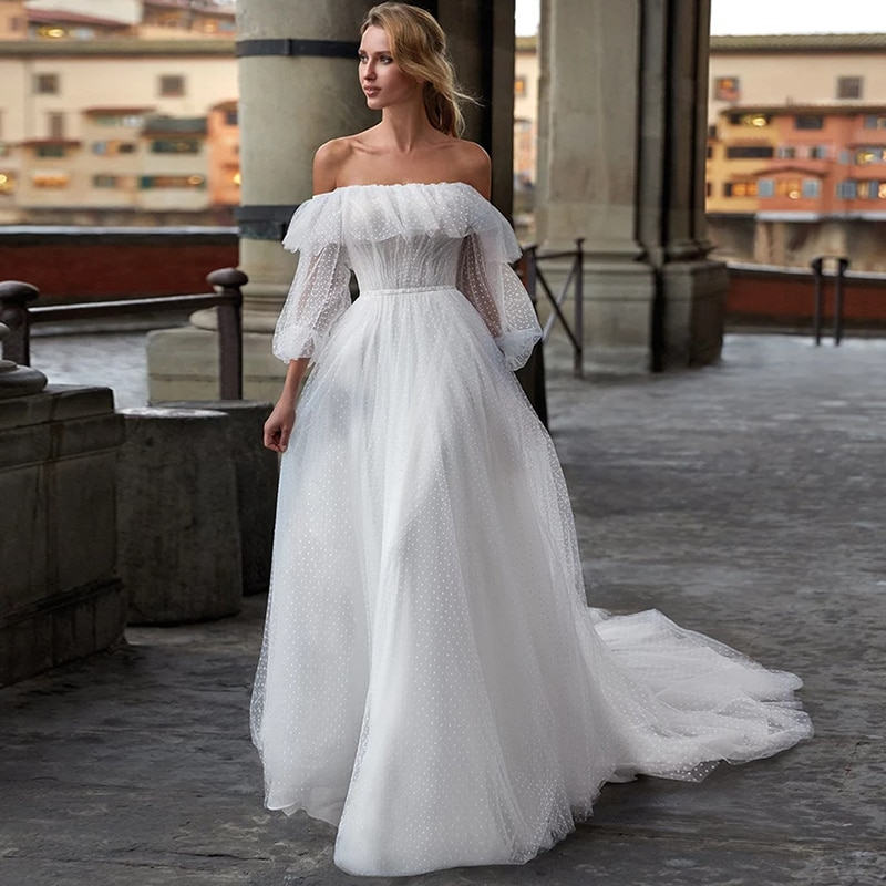 Review Smileven Dots Tulle Boho Wedding Dress 2021 Puff Sleeves Bride Dresses Off The Shoulder Vestido De Noiva Lorie Wedding Gowns