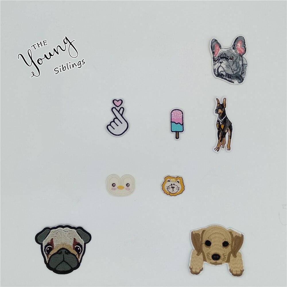 Adhesivos para ropa de perro con bordado de dibujos animados termofusible, parches con símbolo de hierro DIY, accesorios de sombrero de tela vaquera, suministros para manualidades