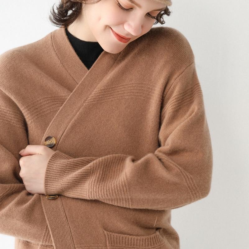 SuyaDream 100%Wool LongCardigan V neck Single Breasted Long Sleeved Sweaters 2020 Fall Winter Cardigans for Women Knit Jackets enlarge