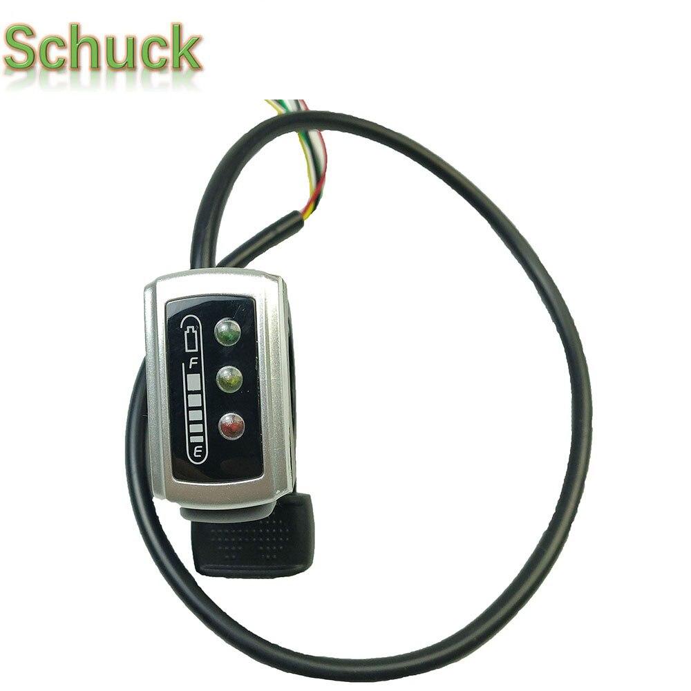 Piezas Bicicleta electrónica SCHUCK 106DX Acelerador de pulgar 36V 48V Control de velocidad 6 cables acelerador con interruptor de encendido/apagado para ebike envío gratis