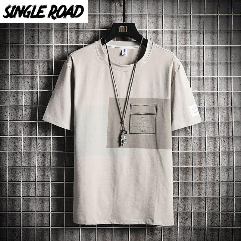 Camiseta de hombre SingleRoad 2020, Camiseta ajustada de algodón de retales de verano para hombre, camiseta informal con estampado de ropa informal japonesa, camiseta para hombre