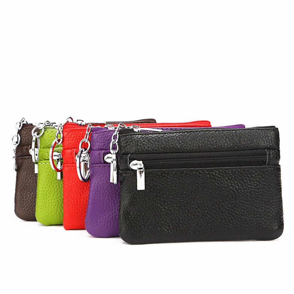 Genuine Leather Car Keychain Card Bags Small Zipper Wallet Credit Card Holder Portable Key Ring Stor