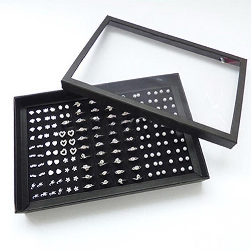 80% HOT SALES!!!Ring Jewellery Display Storage Box Square Tray Show Case Organiser Earring Hol