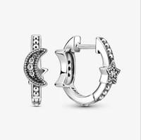 925 sterling silver pan earrings glittering crescent and star bead hoop earrings womens jewelry giftng