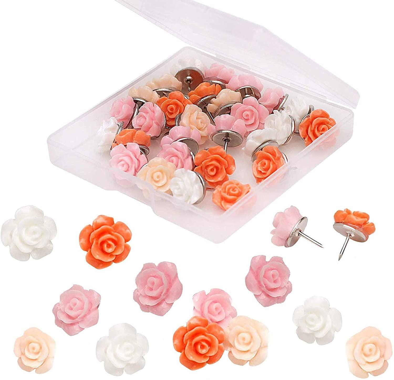 MOGII офисные и школьные принадлежности, 30 шт., розы, цветы, пушалки, декоративные булавки, флорет, булавки для фото, стены, пробковая доска