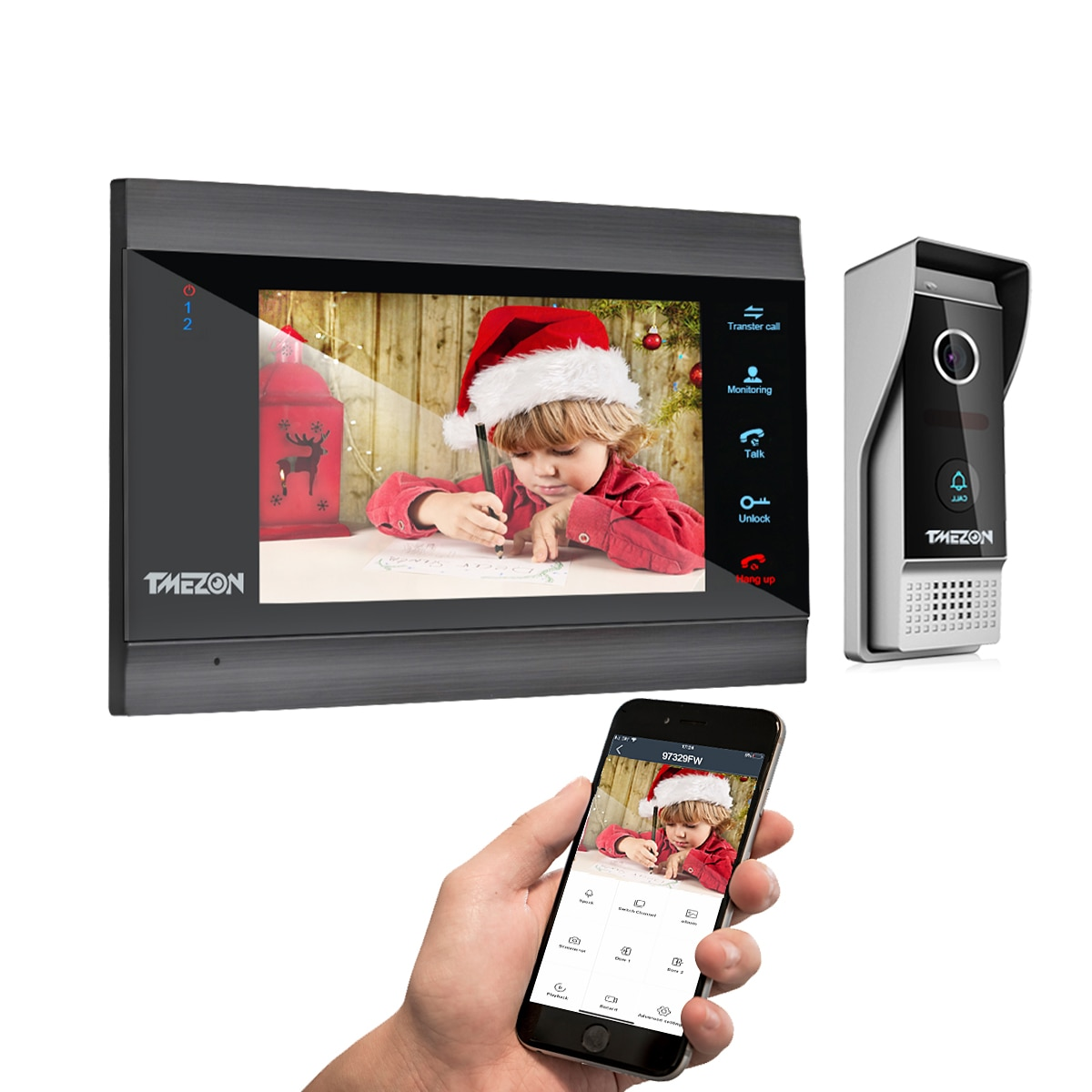 TMEZON Tuya App Home Intercom System Wireless WiFi Smart IP Video Doorbell 1080P 7 Inch with 1x1080P Wired Door Phone Camera