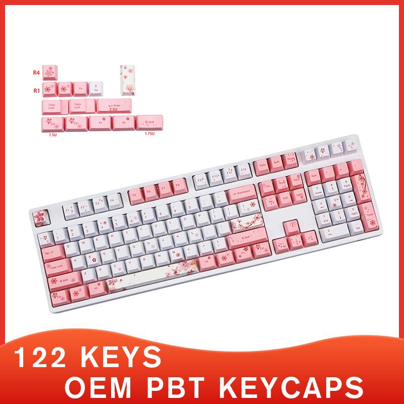 مفاتيح OEM PBT 122 ، أغطية لوحة المفاتيح ، تسامي الصبغة ، أزهار الكرز ، الألعاب ، 87/96/104 مفاتيح ، لوحة المفاتيح الميكانيكية ، ساكورا