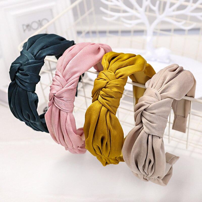 Diadema de nudo superior satinado para mujer bandas de pelo de Color sólido Simple accesorios para el cabello de mujer banda coreana