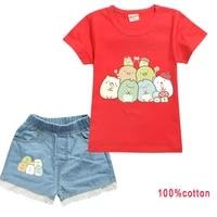baby girl sumikkogurashi clothes kids summer clothing set toddler boys cotton short sleeve t shirts denim shorts 2pcs set outfit