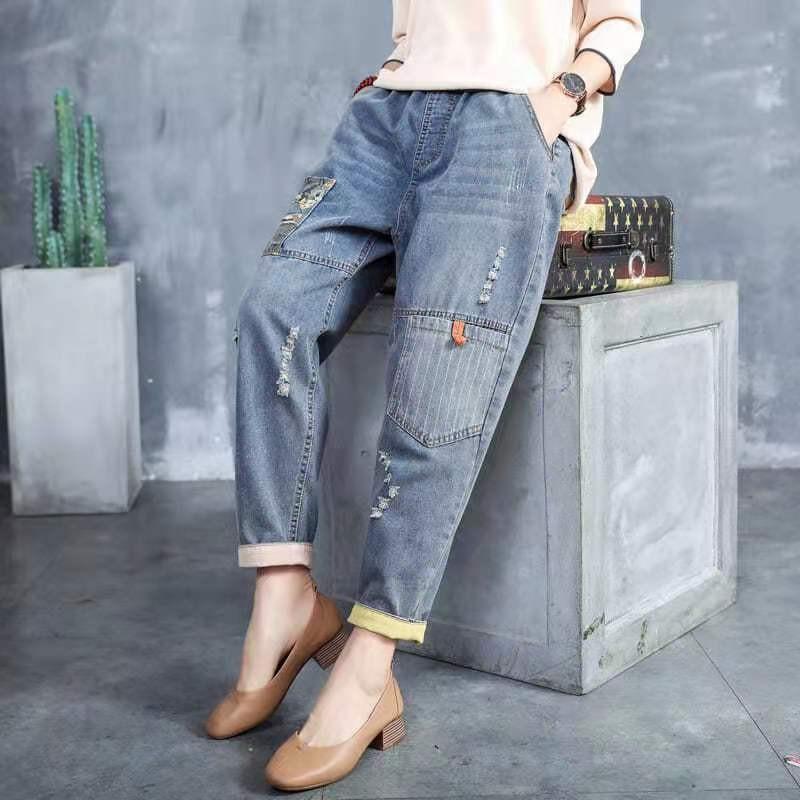 2021 جديد الربيع الفنون نمط المرأة فضفاض عادية مرونة الخصر ممزق جينز جميع مطابقة القطن القطن الدنيم خليط الجينز W14