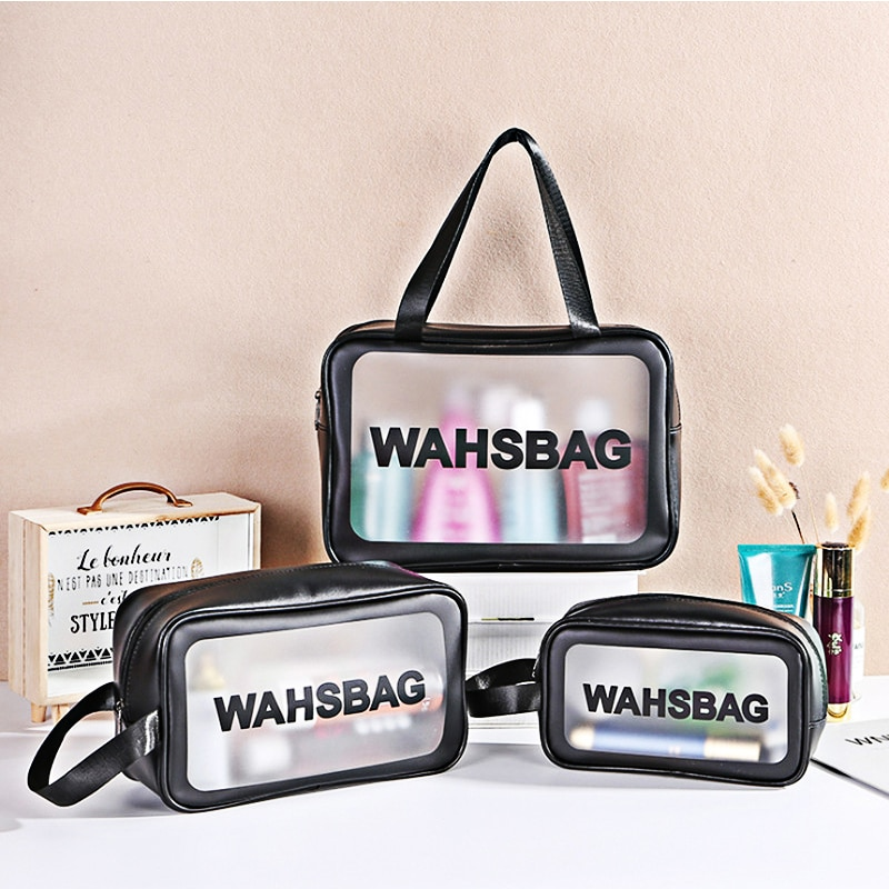 S/M/L Ladies Large Capacity Cosmetic Bag PVC Travel Makeup Storage Bag Female WashBag Frosted Waterproof Cosmetic Bag Convenient