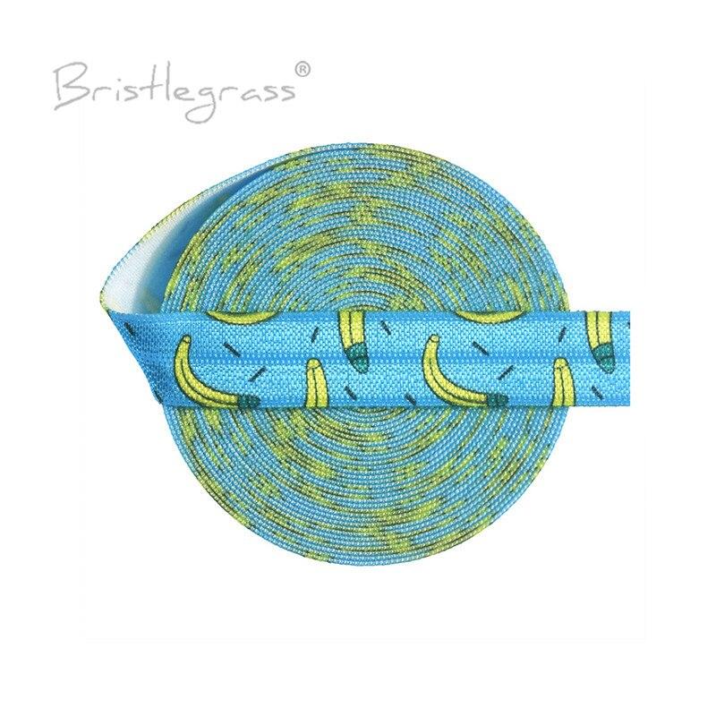 BRISTLEGRASS-شريط مطاطي مطبوع عليه موز ، 50 ياردة ، 5/8 بوصة ، 15 مللي متر ، عصابات ساتان سبانديكس ، شريط شعر للمعصم ، زخرفة خياطة