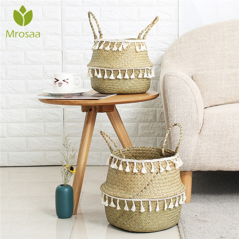 Handmade Bamboo Storage Baskets Seagrass Wicker Basket Garden Flower Pot Laundry Basket Container Toy Holder with White Tassel