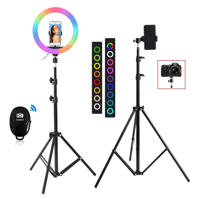26 см 33 см RGB селфи кольцо светильник с подставкой фотостудия кольцевые лампы для телефона TikTok Youtube Макияж Видео Vlog