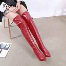 BYQDY Sexy dame printemps automne genou bottes hautes femmes mode talon mince femme chaussures en cuir PU hiver chaussures en polyuréthane taille 40 Discount