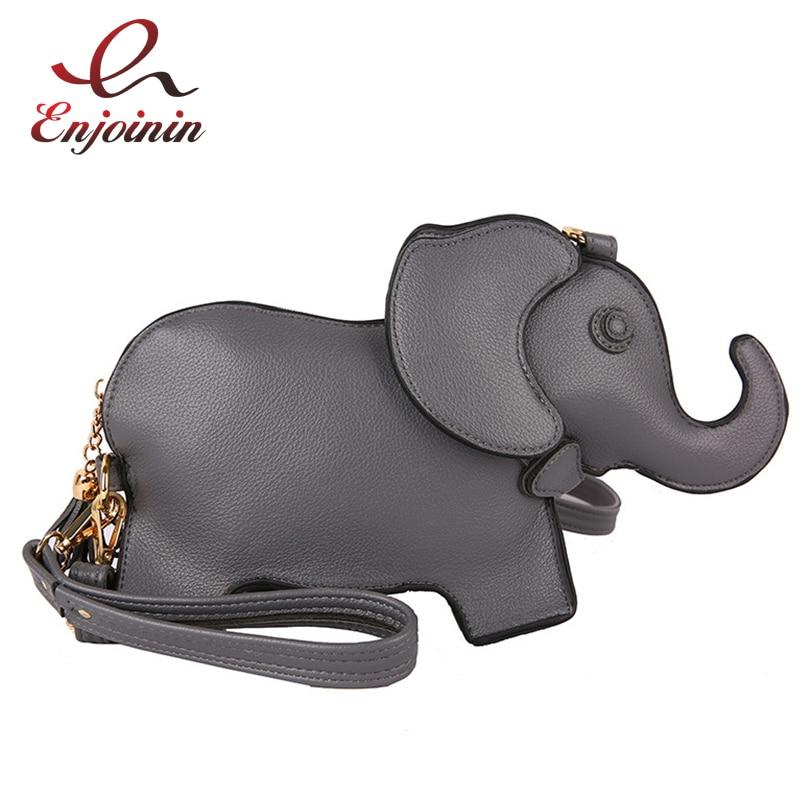 موضة الفيل شكل المرأة المحافظ وحقائب اليد متعة الكتف حقيبة كروسبودي لطيف الحيوان مصمم الإناث حقيبة صغيرة بولي Leather الجلود