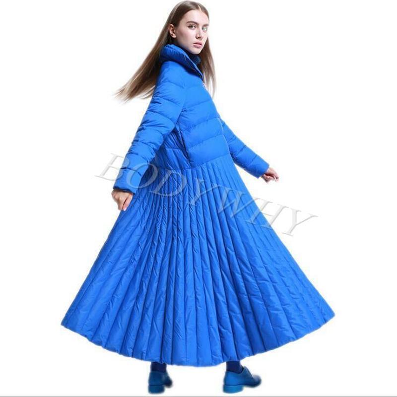 إمرأة السيدات موضة أسفل سترة متوهج معطف طويل أبلى حجم كبير تنورة فستان نمط الشتاء أسفل معطف كبير الحجم