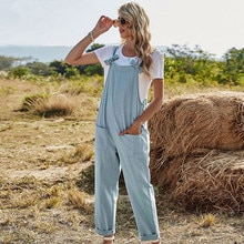 2021 Women Casual Jumpsuits Spring Summer High Waist Solid Loose Pocket Bowknot Long Trousers Romper