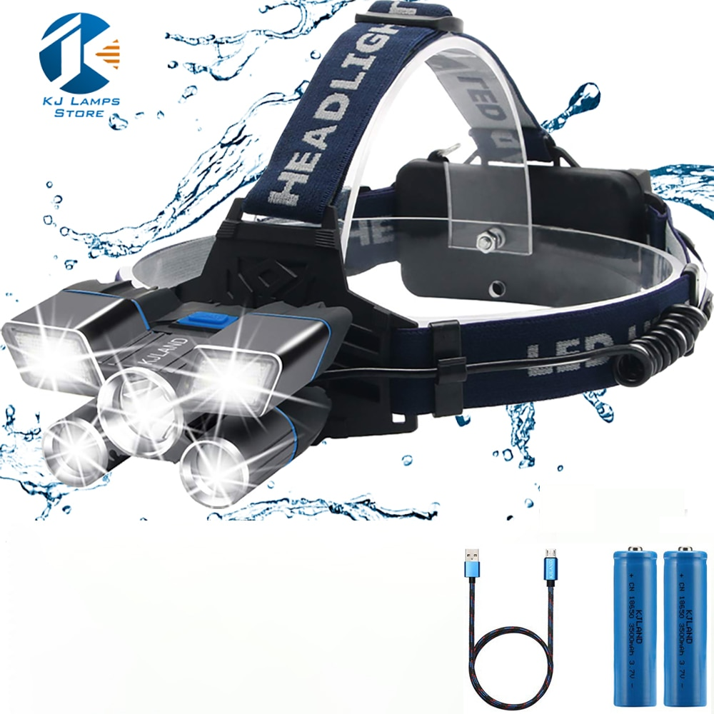 Headlamp ,LED Headlight L2/T6 5 Led Flashlight USB Rechargeable Headlamps Waterproof Work Light, 9 M