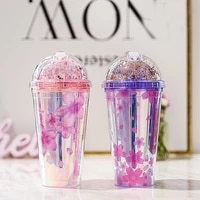 480ml korean version of colorful cherry blossom sparkle double ice cup summer ice cool cup juice cup