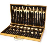 24pcs gold dinnerware set stainless steel tableware set knife fork spoon luxury cutlery set gift box flatware dishwasher safe