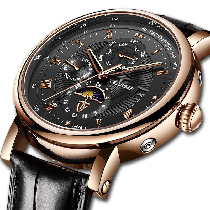 TEVISE Automatico Mens Watches Top Brand Luxury Tourbillon Mechanical Watch For Men Clock Leather Wa