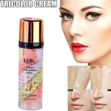 One Step Correct Rainbow Tricolor Makeup Base Isolation Base Concealer Cream Face Pre-milk Pore Makeup Brighten Invisible D3G2