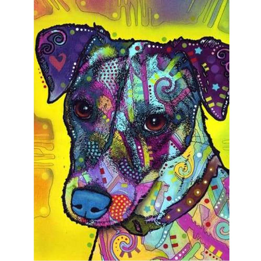 Jack Russel perro diamante pintura Full Drill Cross Stitch Animal diamante bordado cuadrado diamantes de imitación decoración para el hogar europeo AA1151