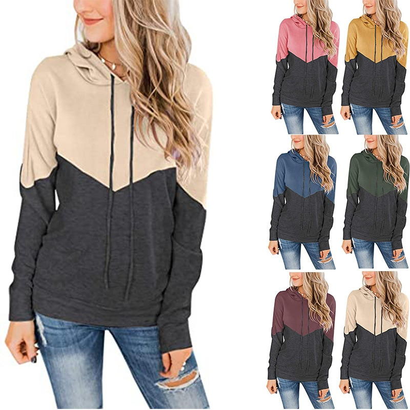 2021 spring and autumn long sleeve sweater womens hooded drawstring stitching contrast jacket