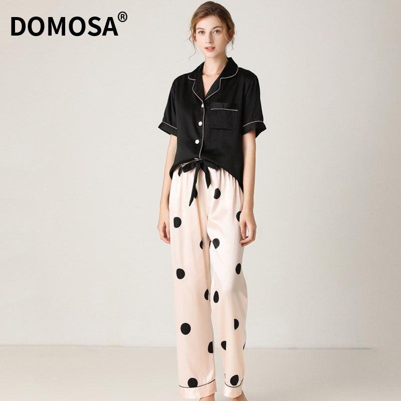 Shorts de Verão Pijamas para Mulher Calças de Manga Conjunto de Cetim de Seda Curta Pijamas Feminino Casa Terno Loungewear Pjs