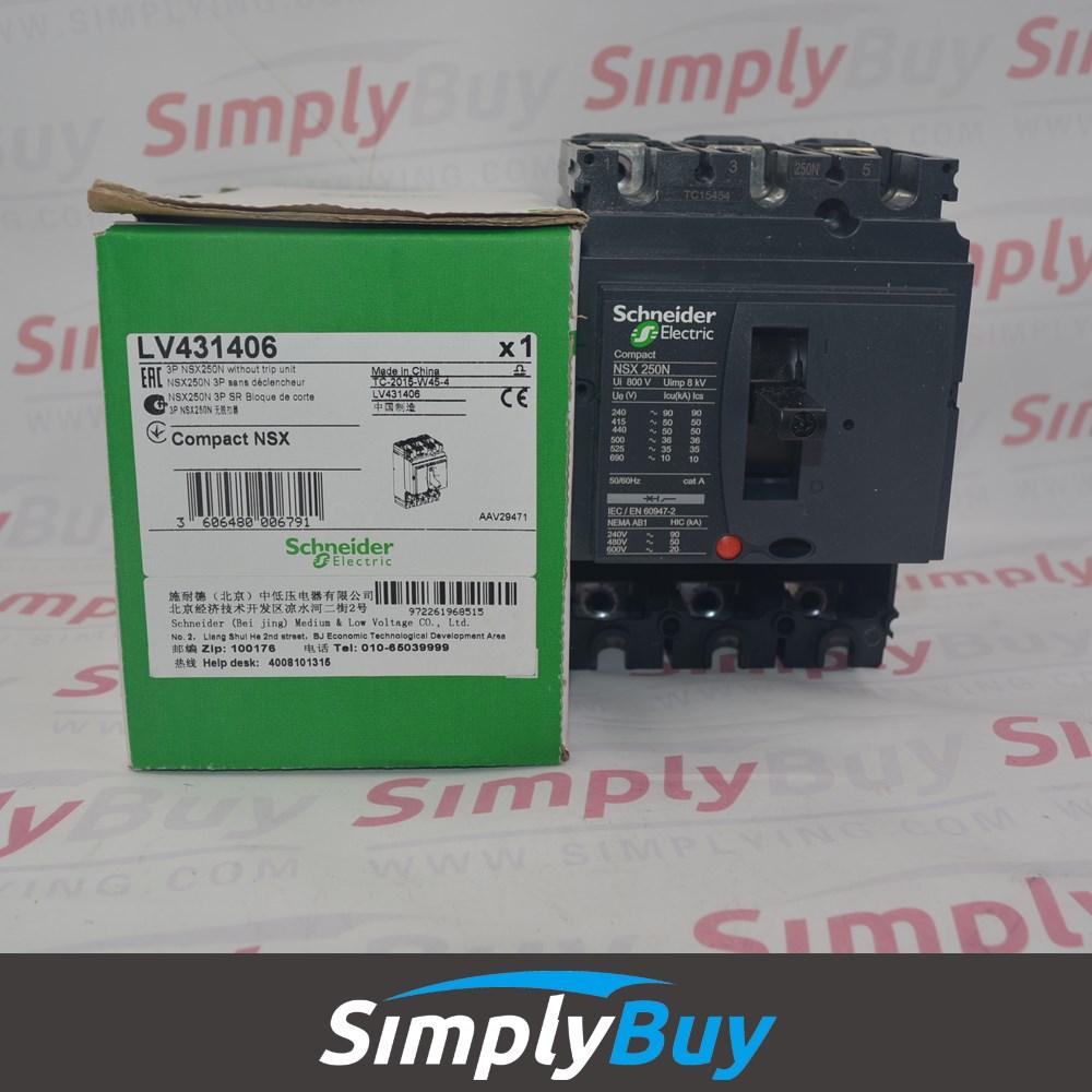 Compact NSX100/160/250 Breaker Body NSX250N (50kA ) LV431406 NSX250N 50 kA at 415 VAC 250 A 3 poles without trip