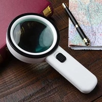 12 led lamp magnifiers magnifying glass white handheld reading jeweler loupe loop handheld magnifying glass with light for senio