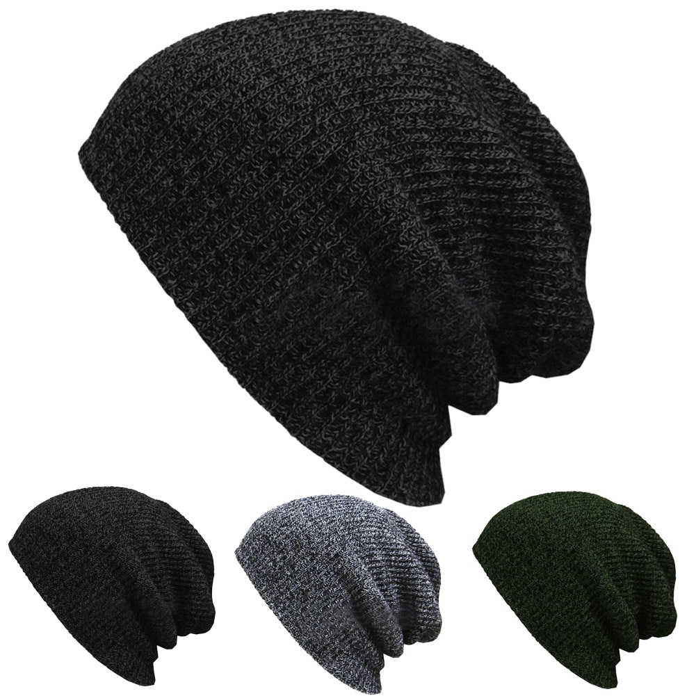 Unisex Knit Baggy Beanie Winter Hat Outdoor Skiing Slouchy Chic Knitted Cap H9