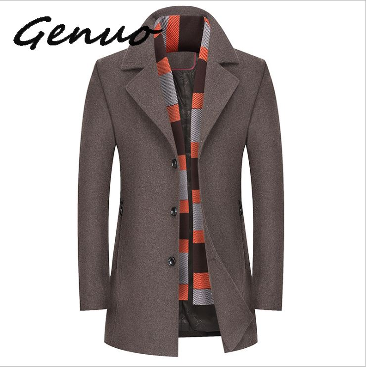 Genuo New Winter Men Wool Blends Coats Mens Thick Warm With Scarf Coat Casual Male Brand Clothing