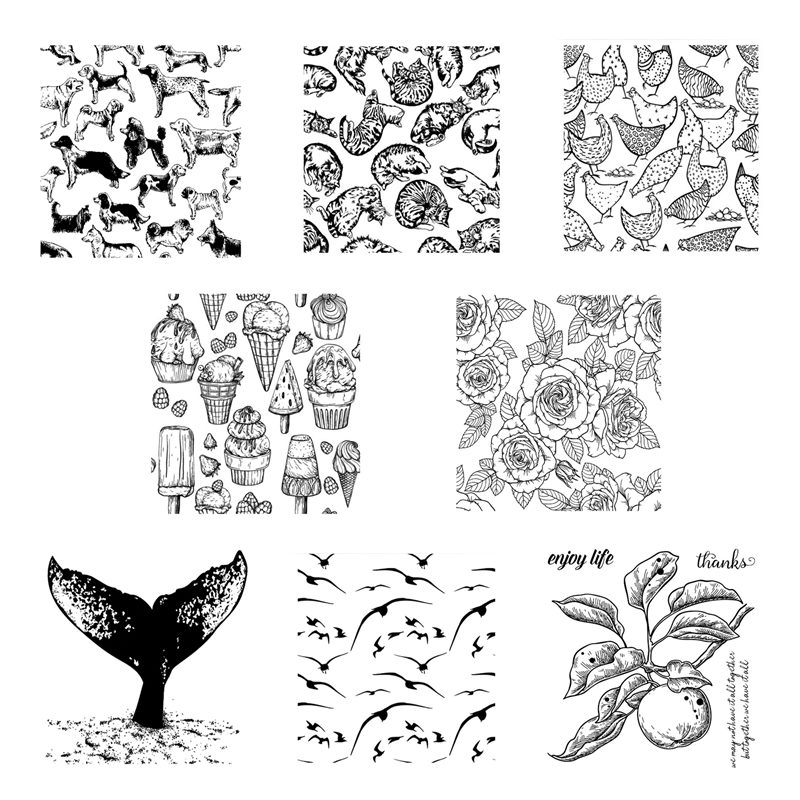 2021 New Arrival Clear Stamps For Scrapbooking Paper Making Animals Ice Cream Embossing Folders Craft Card Transparent Seal Set