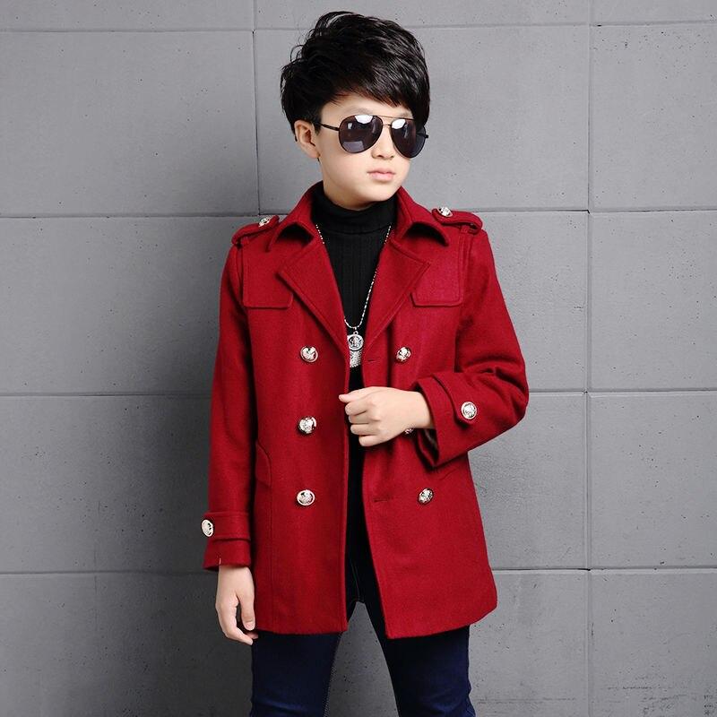 Зимнее шерстяное пальто для мальчиков, новинка 2021, модная двухбортная однотонная теплая куртка с отложным воротником из хлопка, высокое качество-4