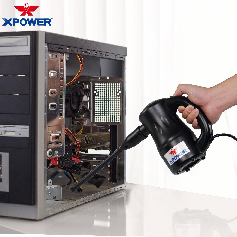 Xpower ventilador de ar folha 550w ventilador de ar elétrico ventilador de limpeza do computador aspirador pó casa carro mini pet secador