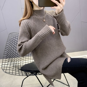 Room 191876, no. 3 in 6 】 make pure color long sleeve head in half a turtleneck sweater [1128] 60