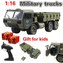 FY004A 1/16 2.4G 6WD Rc 자동차 비례 제어 완구 미국 육군 군사 트럭 RTR 모델 완구 선물 장난감 자동차 라디오 생일