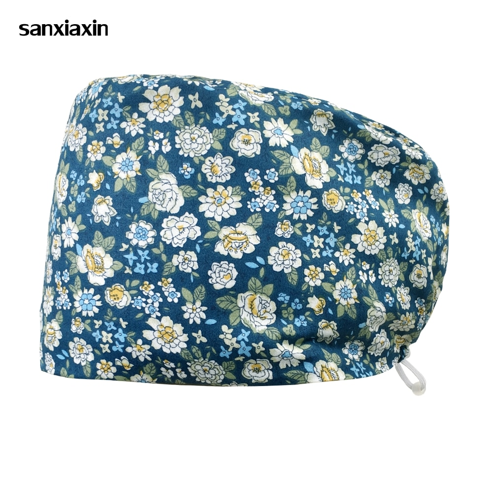 Floral print frosted hat laboratory dust cap adjustable elastic health center work cap high-quality