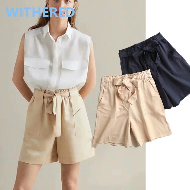 Marchitas Inglaterra vintage liso simple de alta cintura fajas verano bermudas Mujer bolsillos corto feminino de talla grande