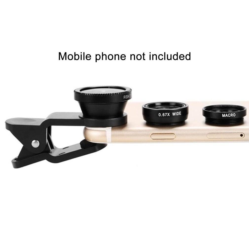 4-en-1 Angulo Macro lente de ojo de pez Cámara Bluetooth teléfono móvil lentes de ojo de pez con Clip 0.67x para iPhone, Samsung, Huawei