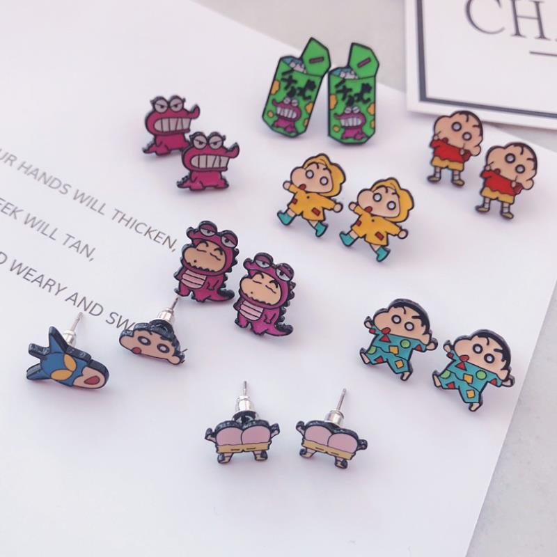 1 Pair Lovely Cartoon Anime Crayon Shin Chan Alloy Stud Earrings Men Women Ear Cosplay Toys Figures Girl Gift