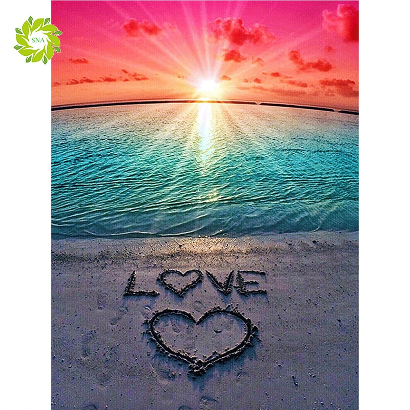 Natural sol DIY diamante pintura Cruz puntada kits bordado diamante mosaico pintura paisaje de playa