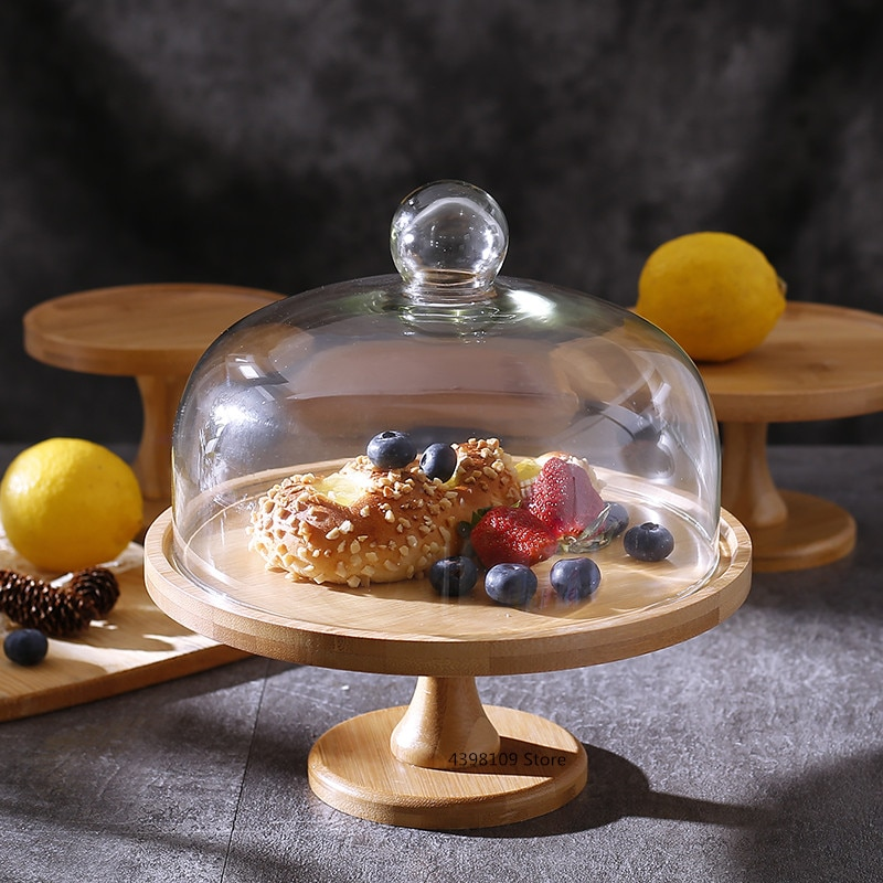 Plato de fruta de bambú Natural plato de postre creativo de vidrio transparente bandeja de pastel plato de pan mesa de postre soporte de exhibición